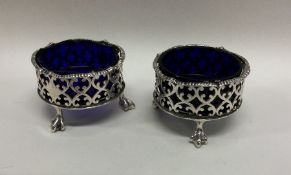 A good pair of Victorian silver salts with gadroon