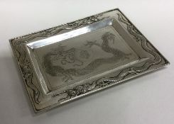 A good Chinese silver letter tray decorated with d