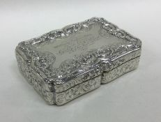 A fine quality cast silver snuff box engraved with