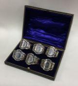 An attractive set of six Edwardian pierced silver