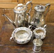 A silver plated hot water jug etc. Est. £15 - £20.