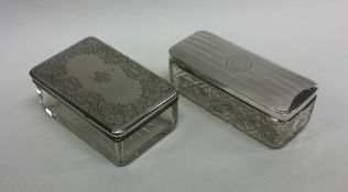A group of two silver mounted powder jars. Var