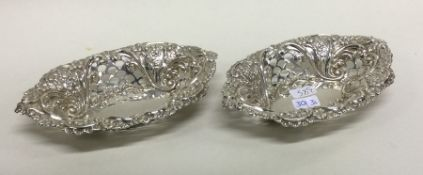 A good pair of silver bonbon dishes with floral de