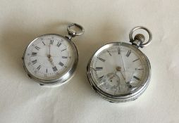 A Continental silver and enamelled fob watch toget
