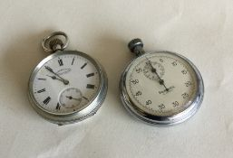 A silver pocket watch with white enamelled dial to