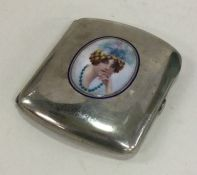 A stylish silver and enamelled cigarette case attr