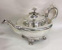 A fine quality circular melon shaped silver teapot