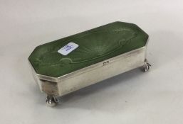 An attractive silver and enamelled jewellery box w