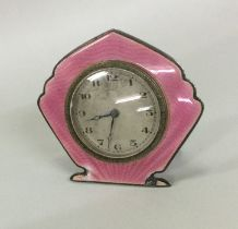 A stylish silver and pink enamelled clock. Birming
