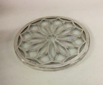 A silver and glass mounted teapot stand. Birmingha