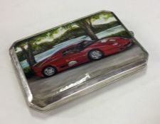 An unusual silver and enamelled cigarette box deco