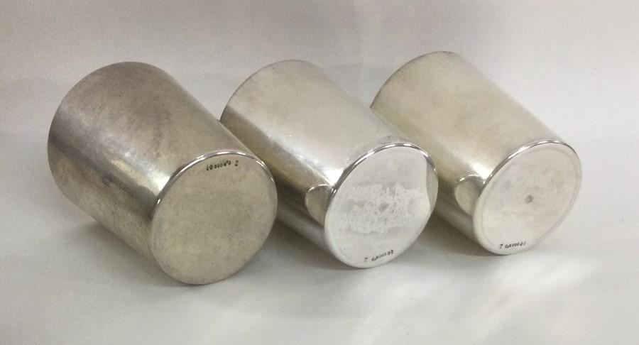 A good set of three tapering silver stacking beake - Image 2 of 2