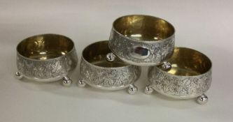 A good set of four Victorian silver salts profusel
