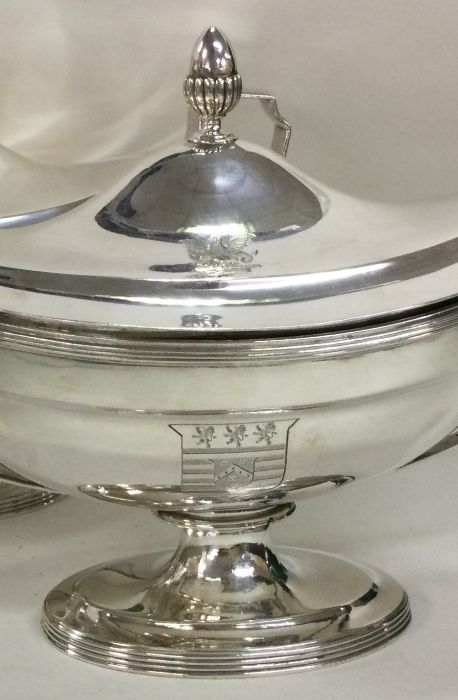 A fine pair of Georgian silver tureens with creste - Image 2 of 3