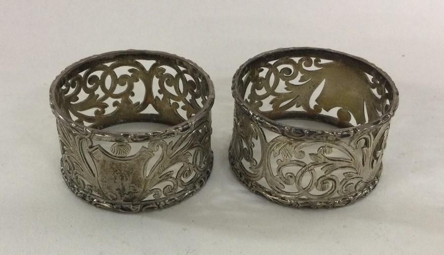 A good pair of pierced silver napkin rings. Birmin