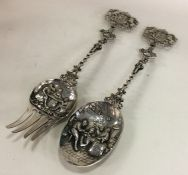 A good heavy pair of large Dutch silver servers wi