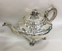 A good Georgian silver melon shaped teapot. London