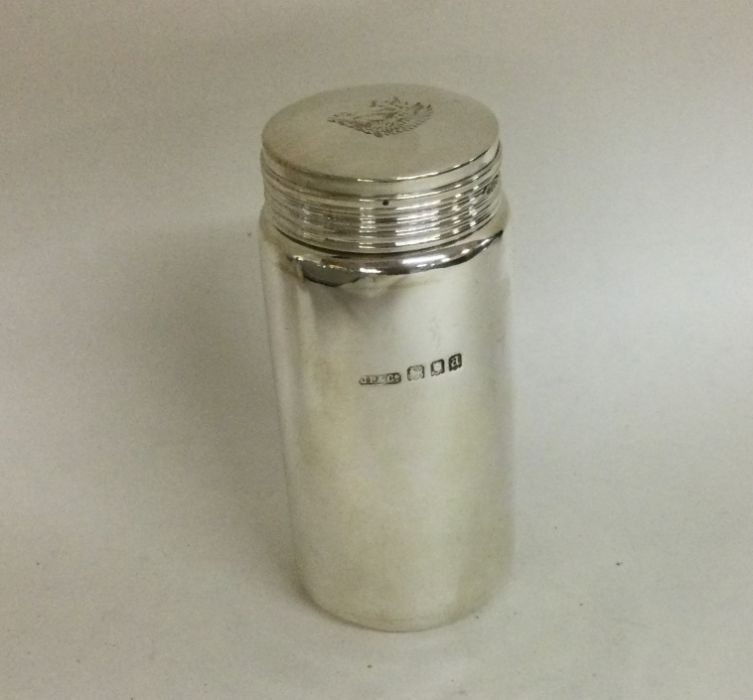 A good Edwardian silver cylindrical box with lift-