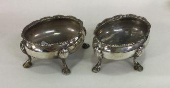 A good pair of oval Georgian silver salts. London.