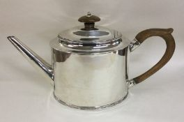 HESTER BATEMAN: A plain oval Georgian silver teapo