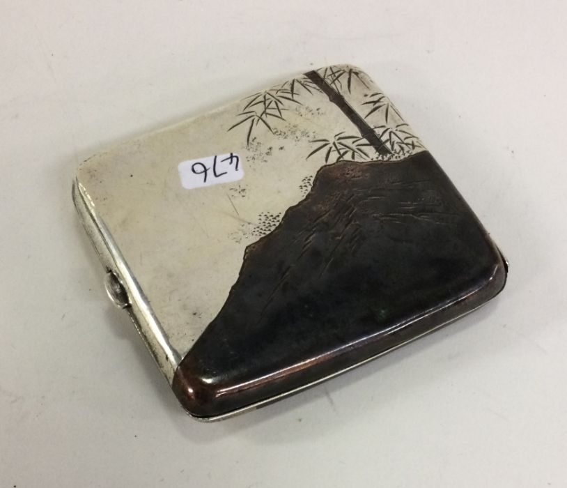 A rare Japanese silver cigarette box decorated wit - Image 2 of 2