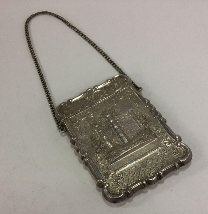A 19th Century American silver castle top card cas