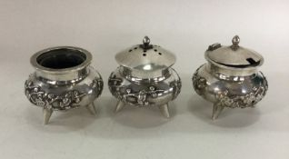 A good Chinese silver three piece christening set