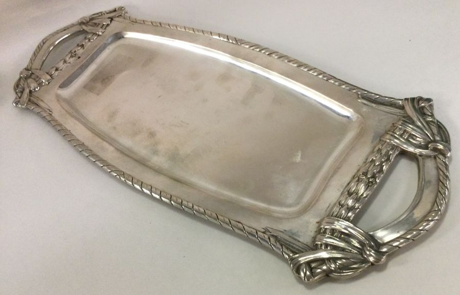 A large oval Austrian silver tray with shaped bord - Image 2 of 2