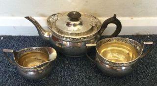 A good Edwardian silver three piece tea service wi