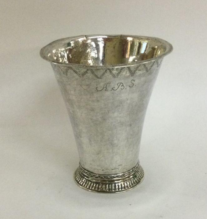An 18th Century tapering Swedish silver beaker wit