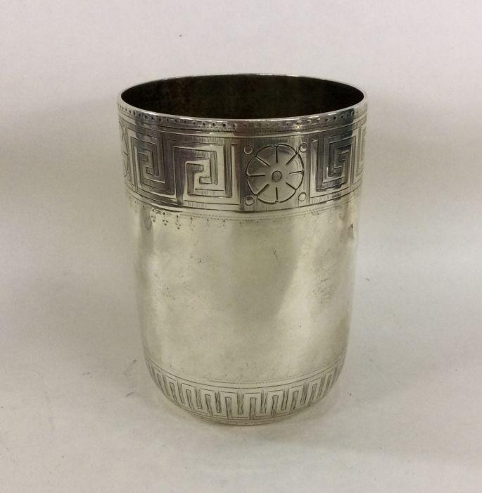A good Victorian silver beaker with Greek Key patt