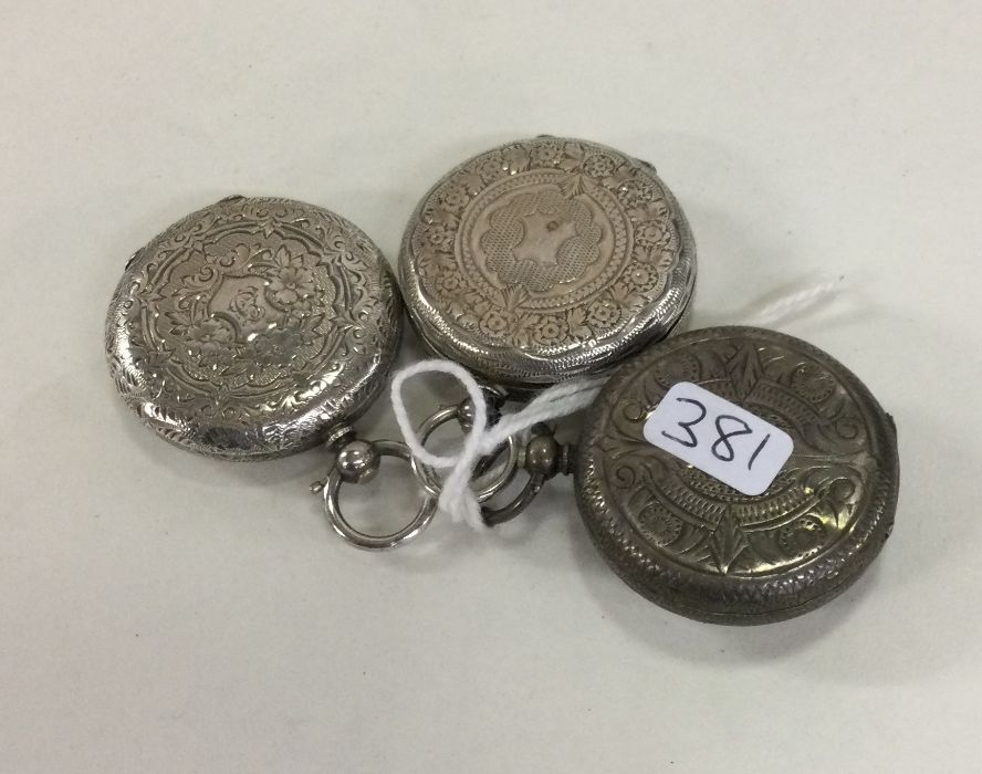 A group of three silver fob watches with white ena - Image 2 of 2