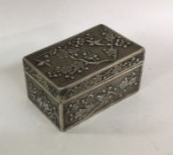A rectangular Chinese silver hinged top box of typ