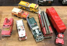 A DINKY diecast toy rescue truck together with oth