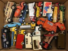 A box containing CORGI and other diecast toy vans