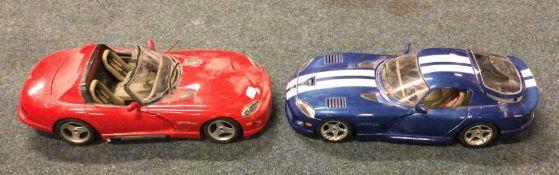 Two Bburago diecast toy Dodge Vipers. (2)