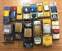A collection of CORGI toy banger racing cars.
