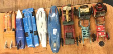 CORGI: A 'Bluebird' toy race car together with oth