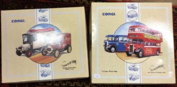 CORGI: Two boxed diecast van sets. (2)