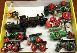 A group of toy traction engines of varying makers
