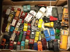A box containing MATCHBOX toy vans and cars etc.