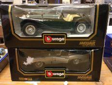 Two boxed Bburago model Jaguar SS 100 (1937). (2)