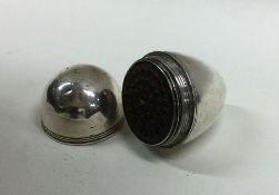 A rare 18th Century egg shaped silver nutmeg grate