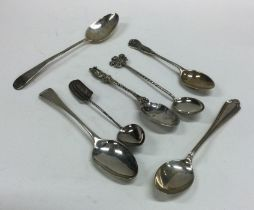 A collection of silver mounted teaspoons. Various
