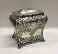 GLASGOW: A good Victorian Scottish silver tea caddy