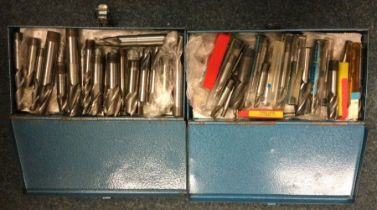 Two boxes of Clarkson Slot Drill Pieces comprising at least 2 sets. Est. £50 - £60.