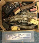 A box of Hornby Dublo Railway including boxed D1 island platform. Est. £10 - £15.