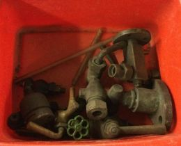 An assortment of steam taps and valves including a Hopkinsons Patented sight glass tap. Est. £20 - £