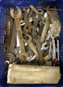 A tray containing mostly Whitworth spanners. Est. £10 - £20.