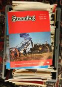 """A selection of """"Steaming"""" and other railway magazines. Est. £10 - £15."""